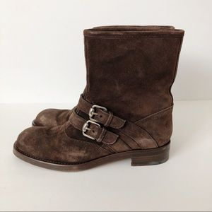 Gucci Margarett Mid-Calf Suede Leather Boots